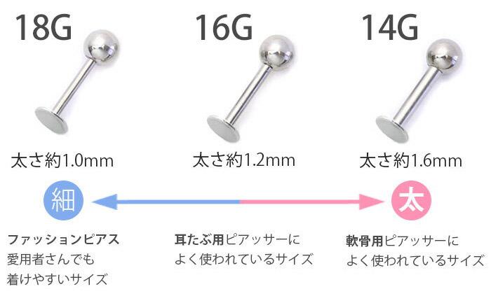 ラブレットピアスサイズ表