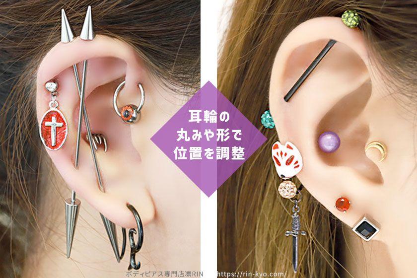耳の丸みでインダストリアルの位置を決める