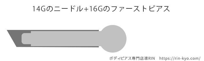 ニードルイメージ図16Gピアス
